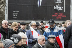 The participants, National day of remembrance of the soldiers cu. The ceremony dedicated to the soldiers cursed took place today also in Rembertów, at the Stock Image