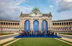 Participants of the NATO military alliance summit in Brussels. BRUSSELS, BELGIUM - Jul 11, 2018: Group photo of participants of the NATO military alliance summit royalty free stock image