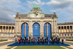 Participants of the NATO military alliance summit in Brussels Stock Photos