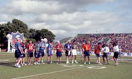 2001 NFL QB Challenge, Kauai, Hawaii. Participants of the 2001 NFL QB Challenge are introduced. Image taken from color slide stock photo