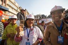 Participants non identifiés à la Journée mondiale contre le SIDA sur la place de Durbar Photos stock