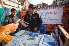 Participants non identifiés à la Journée mondiale contre le SIDA sur la place de Durbar Images stock