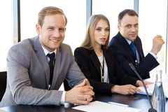 Free Participants Of Press Conference Royalty Free Stock Photos - 138374758