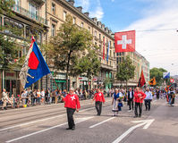 Participants of the parade devoted to the Swiss National Day Royalty Free Stock Photography
