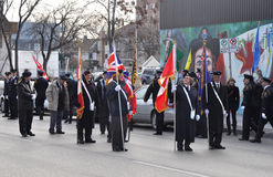 Participants of the parade with flags Stock Image
