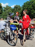 Participants at the parade `Ladies on bikes. Beautiful girls at the parade `Ladies on bikes` in park Sookolniki in Moscow, Russia, in August, 2017 Stock Image