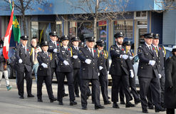 Participants of the parade on the street. Photo was taken during Canadian Remembrance Day ceremonies in Winnipeg City, Manitoba province, Canada. on November 11 royalty free stock images