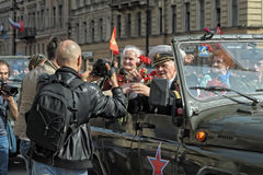 Participants in the parade of victory in Great Patriotic War Royalty Free Stock Photo