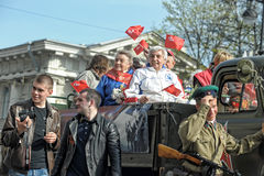 Participants in the parade of victory in Great Patriotic War Royalty Free Stock Images