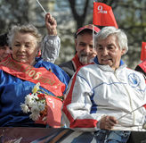Participants in the parade of victory in Great Patriotic War Stock Image