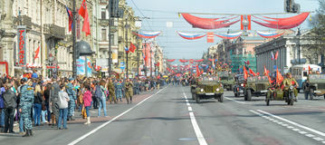 Participants in the parade of victory in Great Patriotic War Royalty Free Stock Image