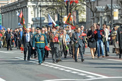 Participants in the parade of victory in Great Patriotic War Stock Photo