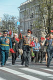 Participants in the parade of victory in Great Patriotic War Royalty Free Stock Photos