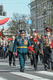 Participants in the parade of victory in Great Patriotic War Stock Images