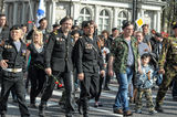 Participants in the parade of victory in Great Patriotic War Royalty Free Stock Photography