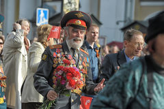 Participants in the parade of victory in Great Patriotic War Stock Photos