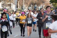 Pasadena Half Marathom at the Rose Bowl. Participants in the Pasadena Half Marathon on January 21, 2018 on Lake Avenue Royalty Free Stock Photo
