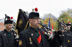 Participants of Poppy Parade commemorating 100 years of World War I Stock Photography