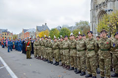 Participants of Poppy Parade commemorating 100 years of World War I Royalty Free Stock Photo