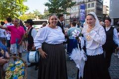Participants of the Porto folklore festival Festival de Folclore do Orfeao do Porto. PORTO, PORTUGAL - JUL 15, 2017: Participants of the Porto folklore festival Stock Photos