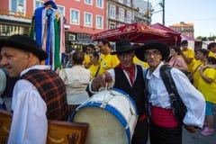 Participants of the Porto folklore festival Festival de Folclore do Orfeao do Porto. PORTO, PORTUGAL - JUL 15, 2017: Participants of the Porto folklore festival Royalty Free Stock Photo