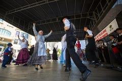 Participants of the Porto folklore festival Festival de Folclore do Orfeao do Porto. PORTO, PORTUGAL - JUL 15, 2017: Participants of the Porto folklore festival Stock Photo