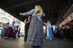 Participants of the Porto folklore festival Festival de Folclore do Orfeao do Porto. PORTO, PORTUGAL - JUL 15, 2017: Participants of the Porto folklore festival Stock Images