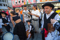 Participants of the Porto folklore festival Festival de Folclore do Orfeao do Porto. PORTO, PORTUGAL - JUL 15, 2017: Participants of the Porto folklore festival Royalty Free Stock Photos