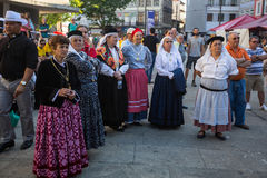 Participants of the Porto folklore festival Festival de Folclore do Orfeao do Porto. PORTO, PORTUGAL - JUL 15, 2017: Participants of the Porto folklore festival Royalty Free Stock Photography
