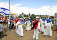 Participants of the procession of evangelical Christians in Jeru. JERUSALEM, ISRAEL - OCTOBER 14, 2014: Participants of the procession of evangelical Christians Royalty Free Stock Photos