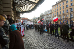 Participants during protest near Cracow Opera, against bringing Russian troops in the Crimea. Royalty Free Stock Photos