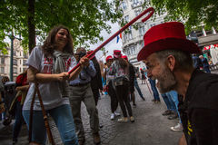 Participants of Queima Das Fitas Parade - traditional festivity of students of Portuguese universities. Stock Images