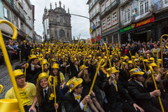 Participants of Queima Das Fitas Parade - traditional festivity of students of Portuguese universities. Royalty Free Stock Photo