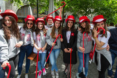 Participants of Queima Das Fitas Parade - traditional festivity of students of Portuguese universities Stock Images