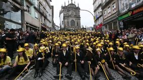 Participants of Queima Das Fitas Parade - traditional festivity of students of Portuguese universities. stock footage
