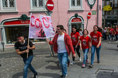 Participants of Queima Das Fitas Parade - traditional festivity of students of Portuguese universities. Stock Image
