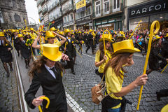 Participants of Queima Das Fitas Parade - traditional festivity of students of Portuguese universities. Stock Photo