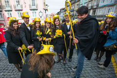 Participants of Queima Das Fitas Parade - traditional festivity of students of Portuguese universities. Stock Photography
