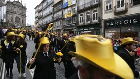 Participants of Queima Das Fitas Parade - traditional festivity of students of Portuguese universities. stock video footage