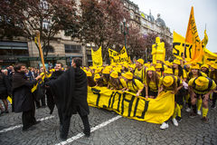 Participants of Queima Das Fitas Parade - traditional festivity of students of Portuguese universities Stock Photo