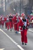 Participants racing Santa Clauses-1 Stock Image