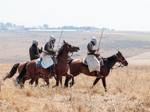 Participants in the reconstruction of Horns of Hattin battle in 1187 moving around the battlefield near Tiberias, Israel Royalty Free Stock Photo