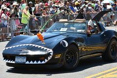 Participants riding car during the 34th Annual Mermaid Parade at Coney Island. NEW YORK - JUNE 18, 2016: Participants riding car during the 34th Annual Mermaid Stock Photo