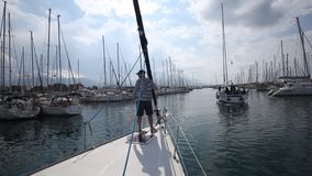 Participants in sailing regatta 11th Ellada Spring 2014 among Greek island group in the Aegean Sea stock video