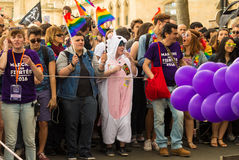 The participants and supporters of Gay prid parade  in Paris, Fr Stock Image