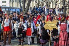 Participants in Surva Festival in Pernik, Bulgaria. Participants from Karlovo region village Gorni Domlqn, with colorful traditional costumes - embroidered Stock Photography