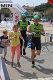 Participants in the Swimrun Costabrava competition in in a small town Playa de Aro in Spain Royalty Free Stock Image