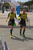 Participants in the Swimrun Costabrava competition in in a small town Playa de Aro in Spain Royalty Free Stock Photography