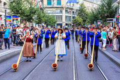 Participants the Swiss National Day parade in Zurich Royalty Free Stock Image