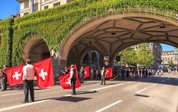 Participants of the Swiss National Day parade Royalty Free Stock Images